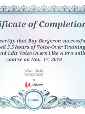2019 Record ad Edit Voiceovers Like a Pro Certificate of Completion