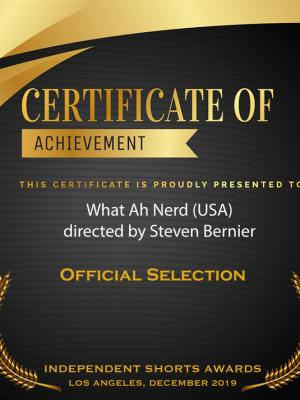 2020 What Ah Nerd - Independent Shorts Awards Certificate 2020 · By: Steven Bernier