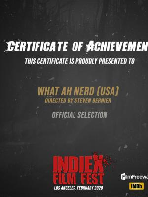 "2020 ""What Ah Nerd"" IndieX Cert of Achievement · By: Steven Bernier"
