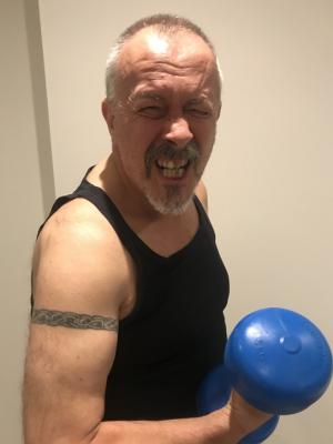 Dave with Tat and Dumbells