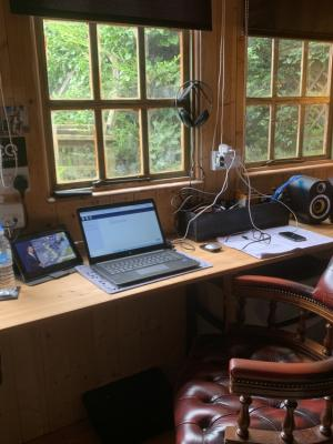 My production home office gives me plenty of room to work peacefully and productively offering 24-hour turnarounds.. My DAW is the Adobe Audition 13.0.10 version and I have i-Box shelf monitors to help me edit and master audio with pin-point precision.