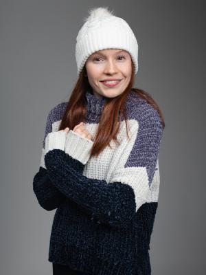 Zoey Deel Smiling Winter Shot
