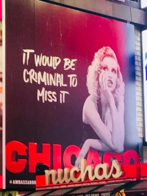 Velma Kelly advertising Chicago in Times Square, NYC