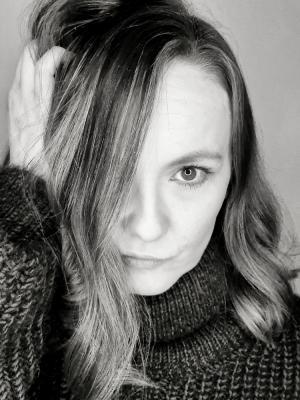 2021 Black and white portrait · By: Lauren C Moore