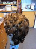 Pin curl set on male wig · By: Elise Baker