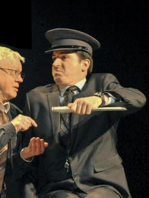 2014 As Major Quentin Sexton in 'Arrivals & Departures' in the Ayckbourn Ensemble tour, 2014, with the Stephen Joseph Theatre. (Left: Kim Wall as Barry) Photo taken at Everyman Theatre, Cheltenham · By: Andrew Higgins