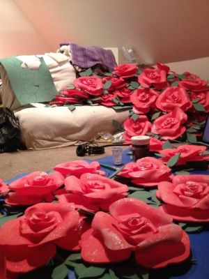 Giant 3D roses for Beauty & The Beast · By: Tracey Booth