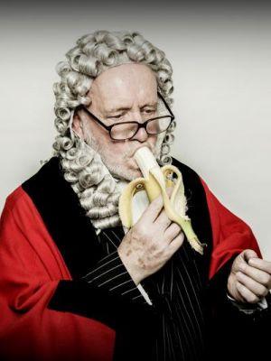 2014 David as Judge eating Banana · By: Mark Brumell Photography