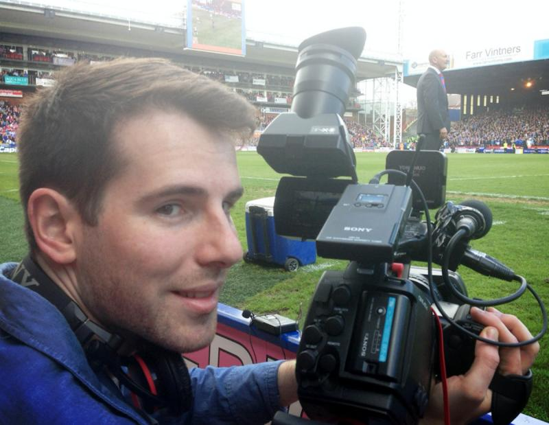 Filming at Selhurst Park for the Crystal Palace documentary
