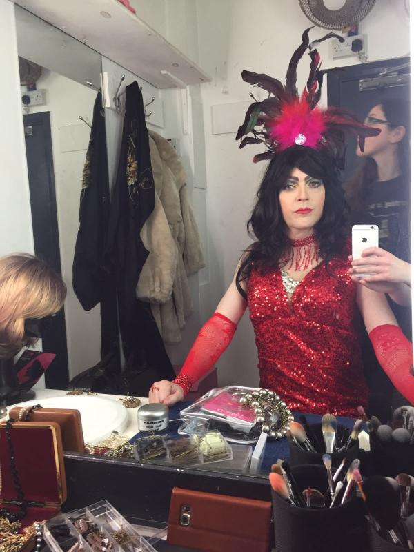 """Dressing room shot of murdered Drag Queen Kitty Collins for """"50 Ways to kill your Lover"""""""