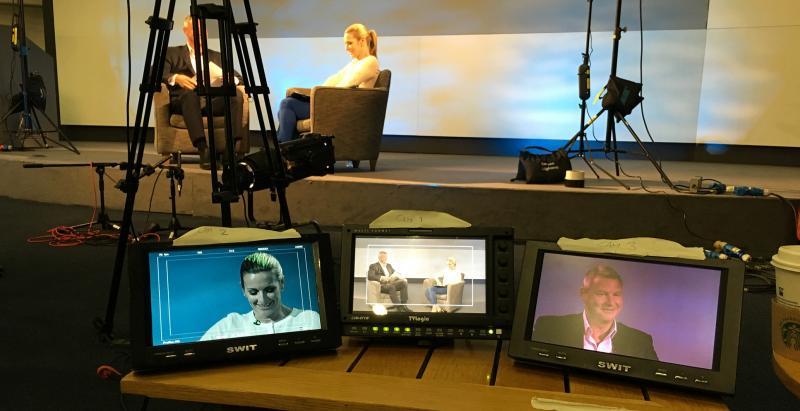Three camera discussion set up