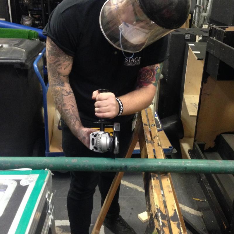 Metalwork preparation for Linbury Theatre show