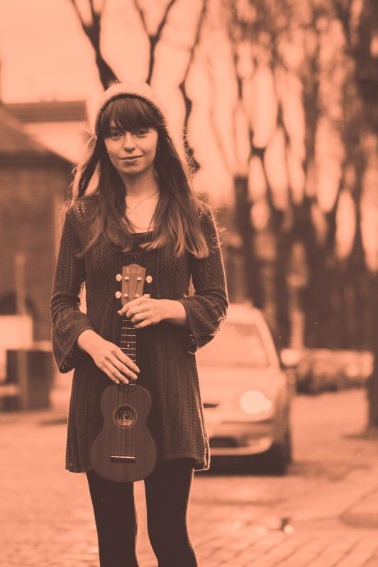 Full Length Shot with Ukulele - Clare Louise Roberts Solo Artist
