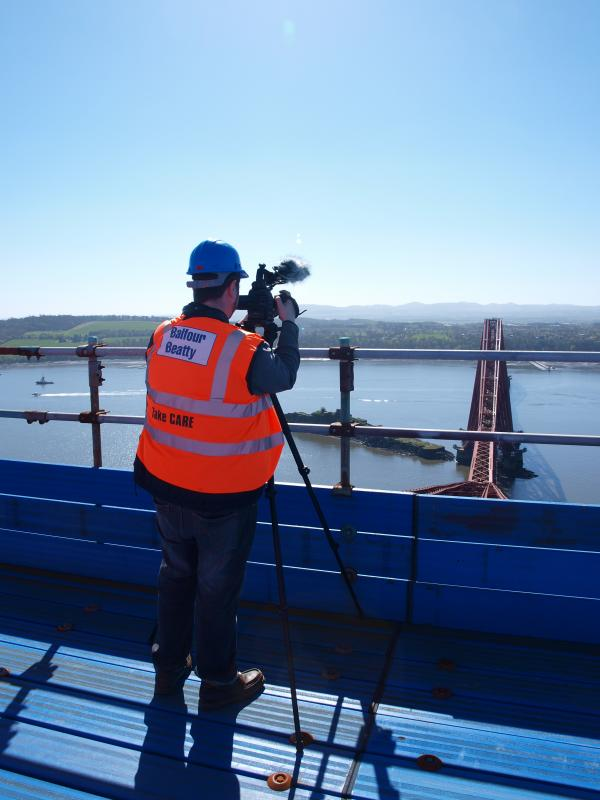 Filming on the Forth Bridge