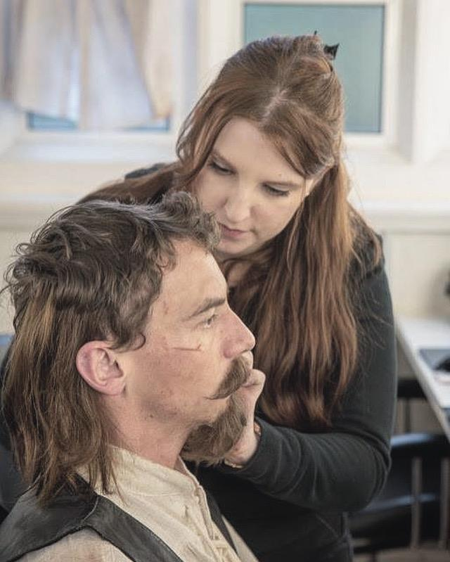Application of hand knotted Facial Beard Postiche and Hair wefts to actor Ed Browning