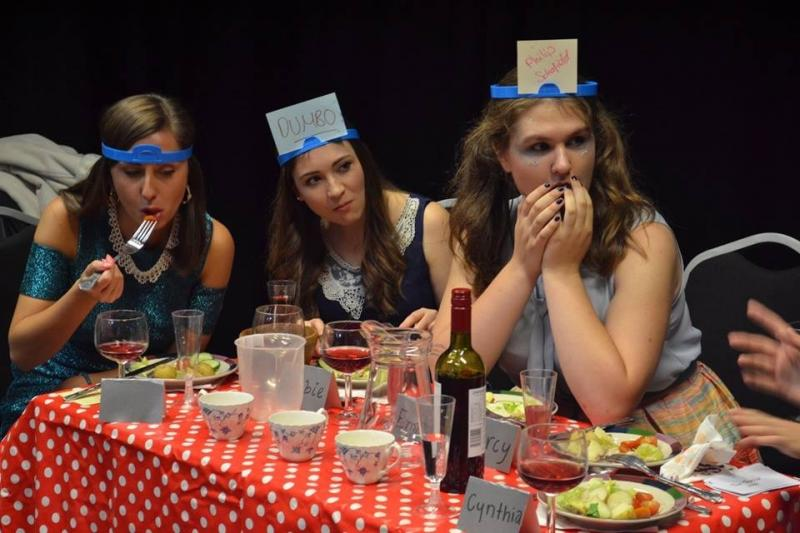 Rehearsal photo from Debbie's Dinner Party - Amelia Stephenson (right)