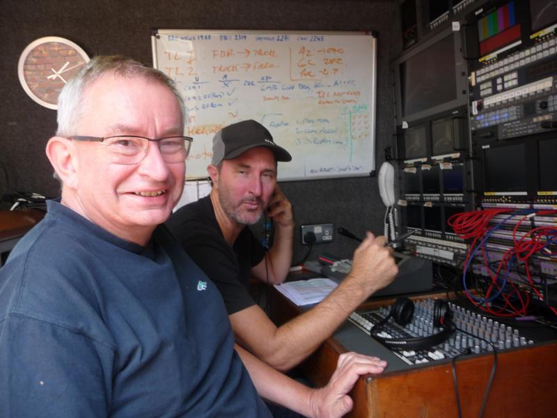 Mixing audio alongside director Leon Sefton in the SNG OB truck - TV coverage of Clipper Race Start 2017