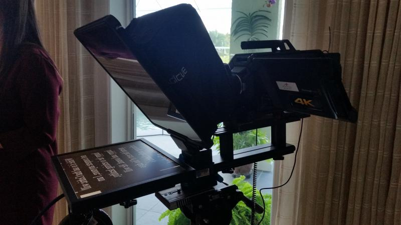 We have a teleprompter to greatly facilitate shoots.