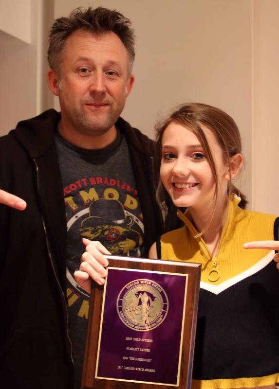 Scarlett with her Tabloid Witch Award with director Martin Gooch