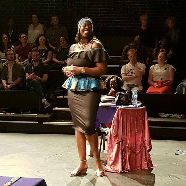 Olufamba in Britains Got Fashion at the Cockpit Theatre