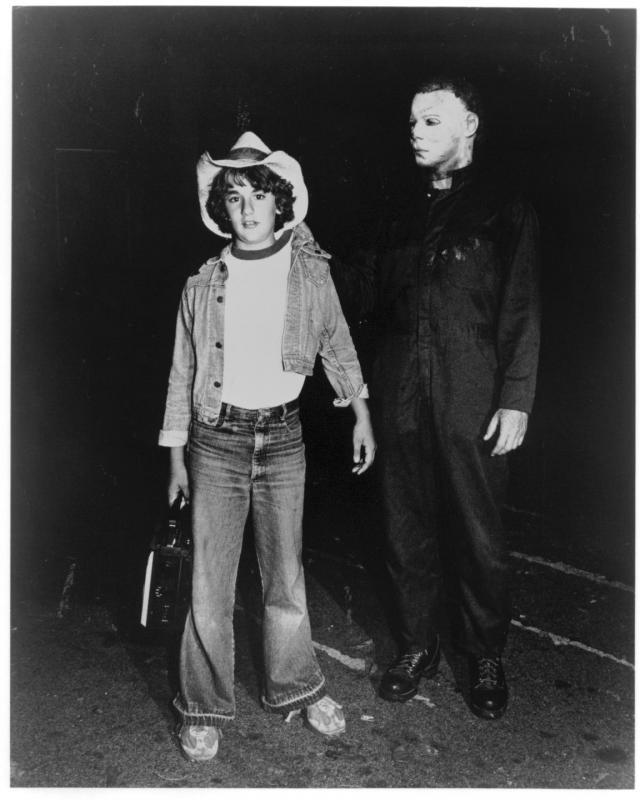 "Lance Warlock as ""Boom Box Boy"" and father Dick as ""Michael Myers"" in Halloween II"