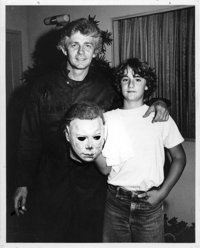 Dick and Lance Warlock on the set of Halloween II