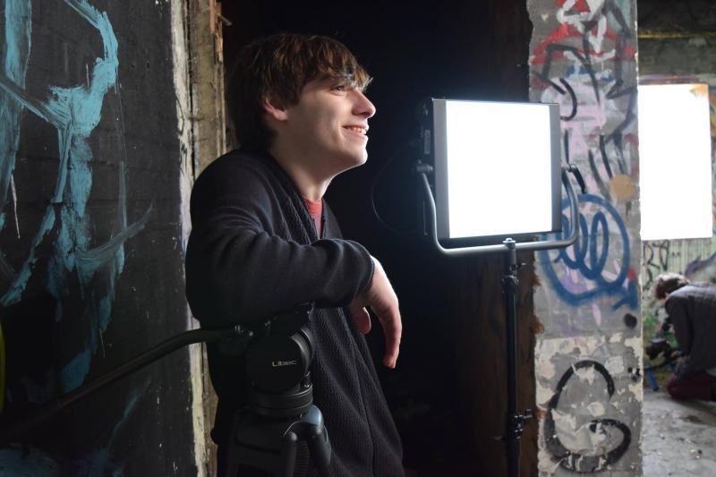 On set of the short film 'The Pragmatist'
