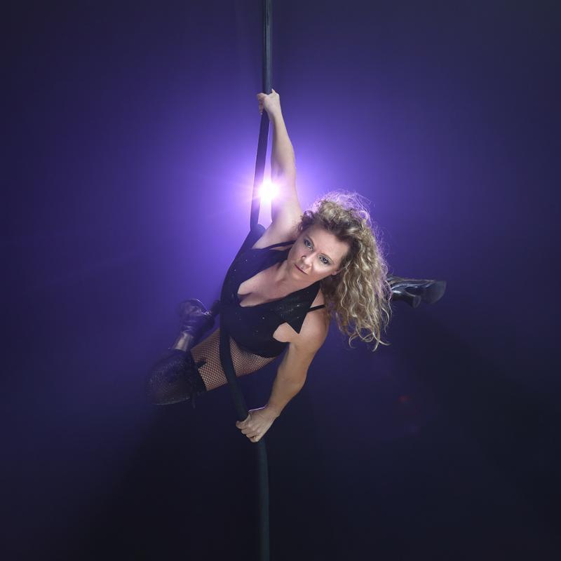 Aerial shot on rope