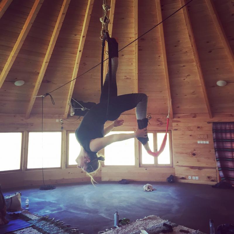 Rehearsal shot aerial hoop
