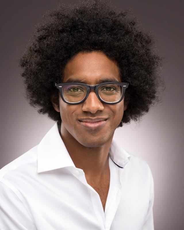 Headshot with glasses