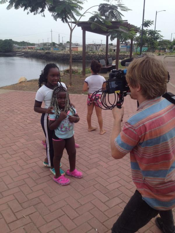 Shooting a documentary in the Nigerian district of Guayaquil, Ecuador