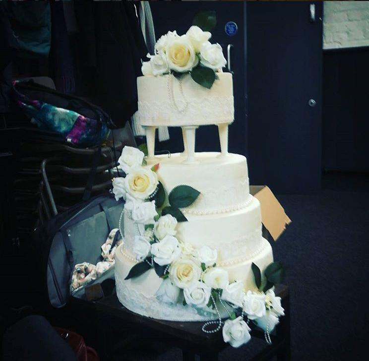 Wedding Cake - styrofoam, caulk, fake flowers