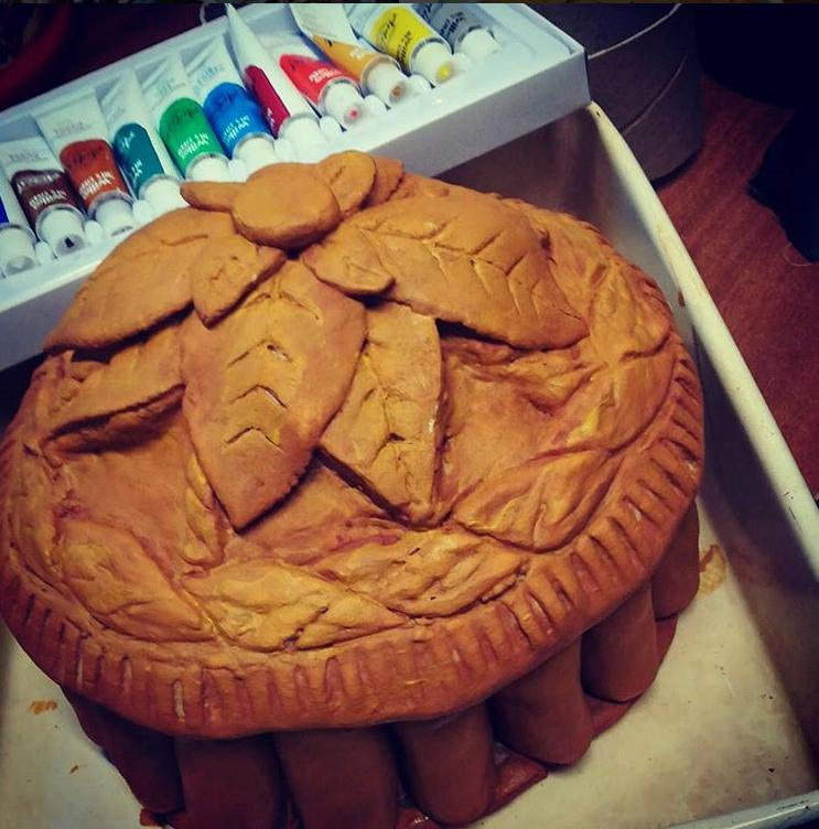 Victorian Pie - salt dough, watercolour paint