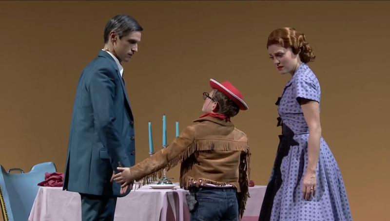 Quirijn de Lang, Charlie Southby and Wallis Giunta in Trouble in Tahiti, Opera North