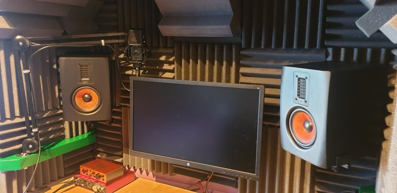 Full recording booth in home studio.