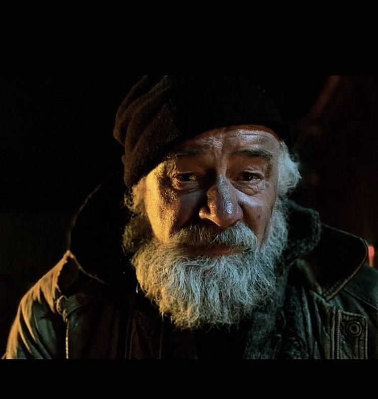 Homeless character in music video