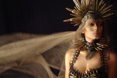 Queen Tamora from Shakespeare´s Titus Andronicus, bullet wedding dress designed by Eloise Kazan