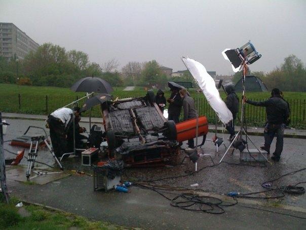 On set in our car crash scene