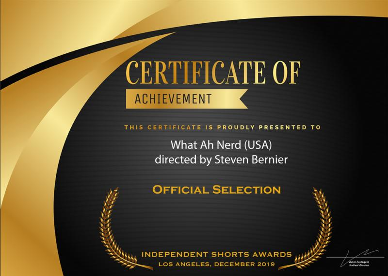 What Ah Nerd - Independent Shorts Awards Certificate 2020