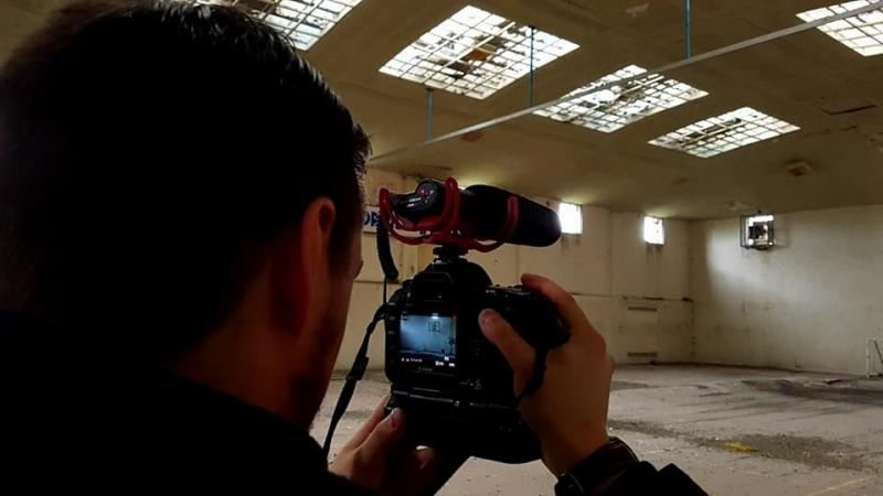 Filming at an abandoned leisure centre