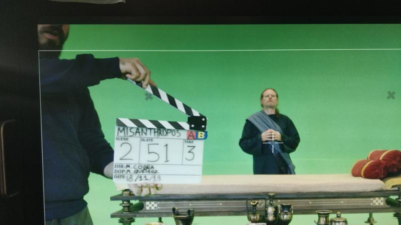 """Clapperboard during the shoot of the feature film """"Misanthropos"""" where I worked as DoP and AP."""