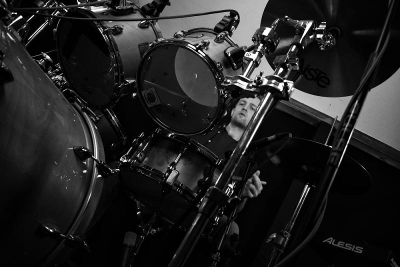 Drums B&W low shot