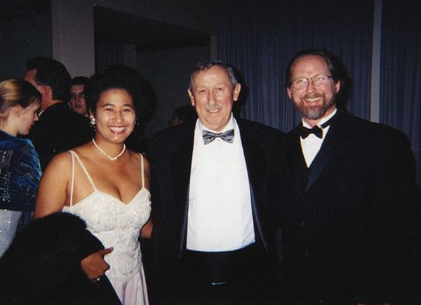 "My wife Jann and I celebrating the release of ""Fantasia 2000"" with Roy Disney (I worked on the restoration)"