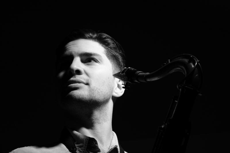 Jon Shenoy tenor sax b&w