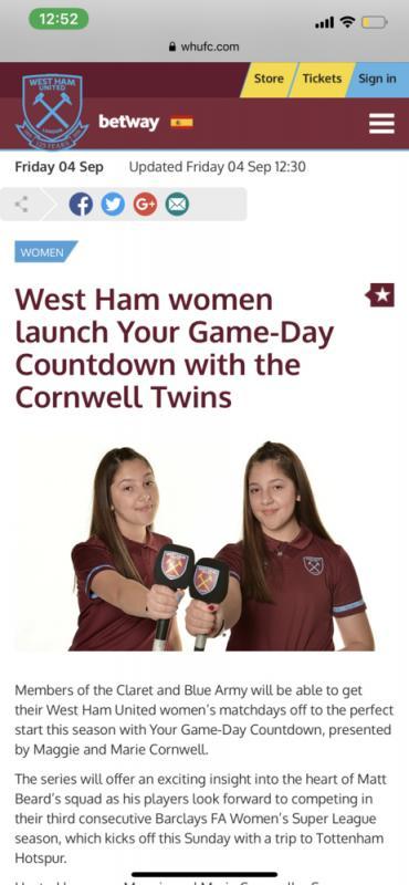 West Ham United launch screen grab