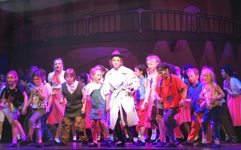 Izzy Kirby ( centre) as Chip Buddy, Her Majesty's Theatre