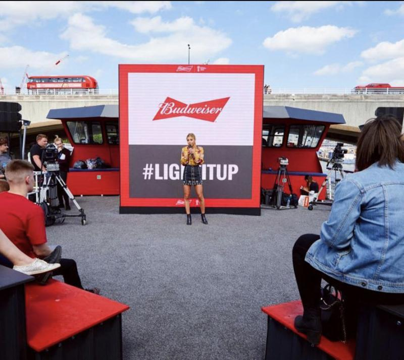 Presenting for the World Cup on the Budweiser BudBoat