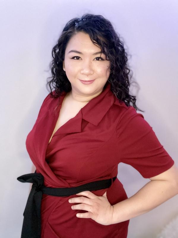 Headshot red dress 1