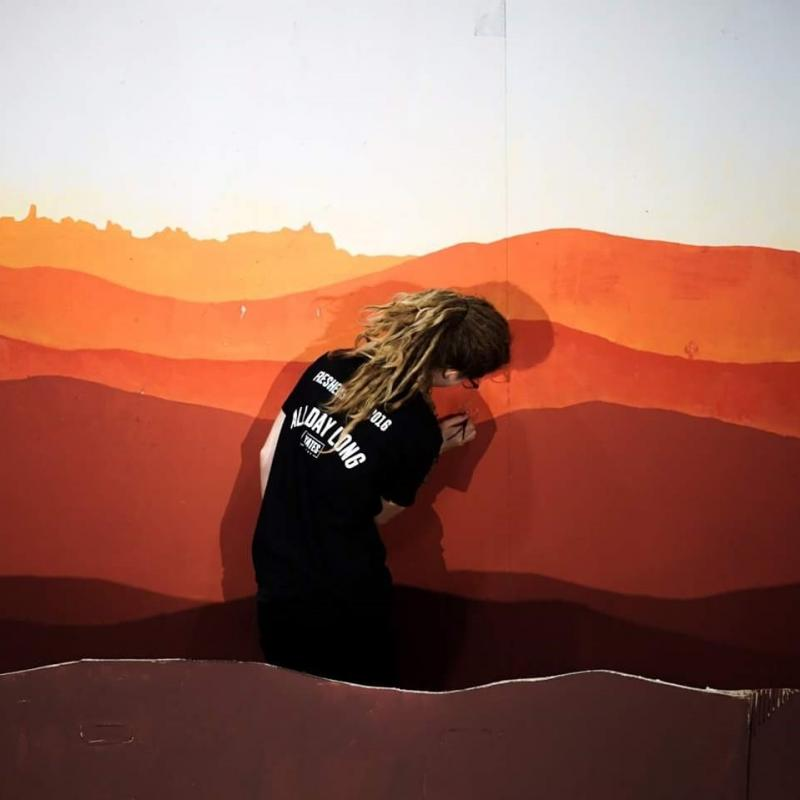 Painting the set of the Vagaband Commercial