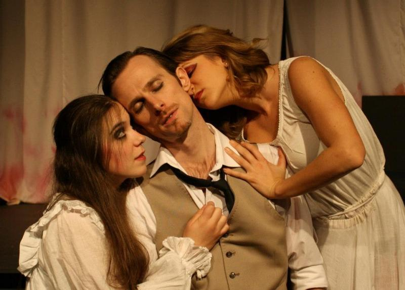 As Jonathon Harker with brides in 'Dracula' at the Blue Orange Theatre